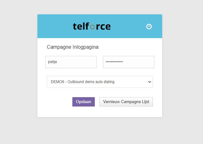 Telforce callcenter software inlogscherm agent