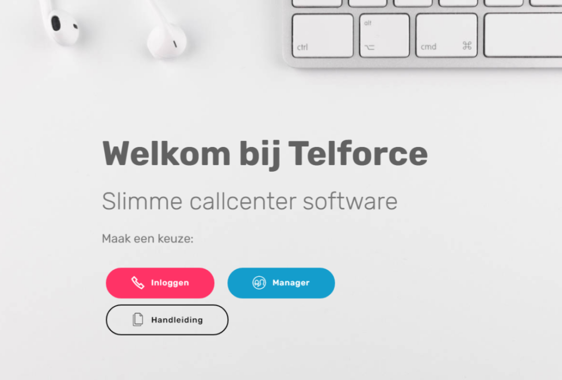 Telforce inloggen voor agents of managers web based